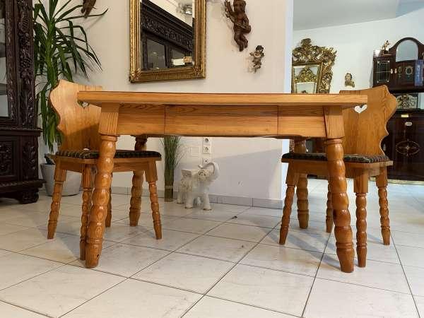 uriger Bauerntisch Zirbenholz Tisch Bauernstube 2 Sessel A2585