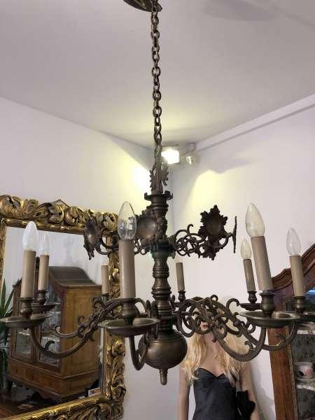 antiker Hängeleuchte Leuchter Prunkt Messingluster Salonluster Z1260