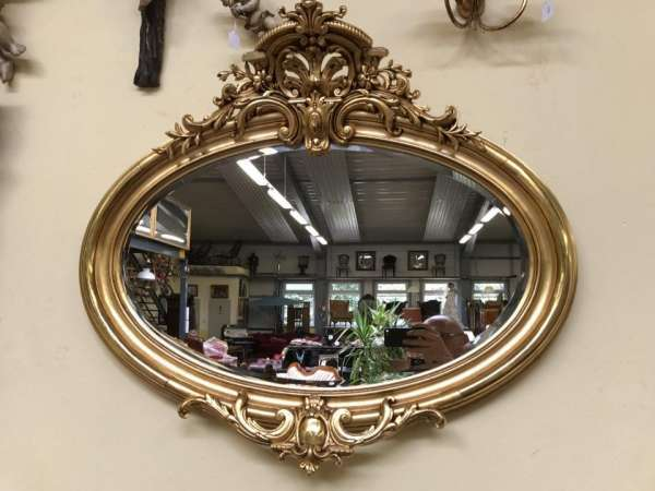 ovaler Florentiner Rahmen Spiegel vergoldet Original - W2204