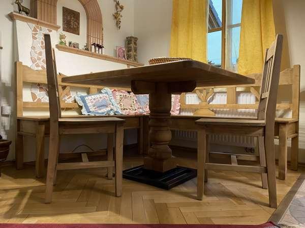 Eckbankgruppe Tisch + Sessel Bauernstube Naturholz Sitzgruppe A2565