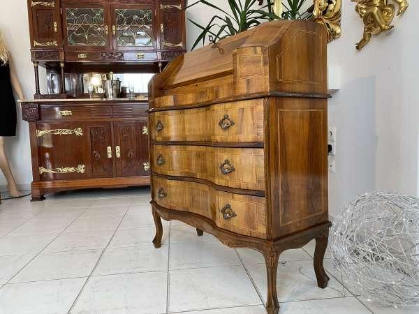 hübscher Sekretär Schreibtisch Barocker Stil Wurzelholz E2003