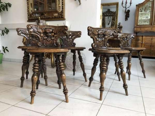 alte 6 Küchenstühle Salonstühle mit Putten Engel Schnitzerei Gründerzeit X1883