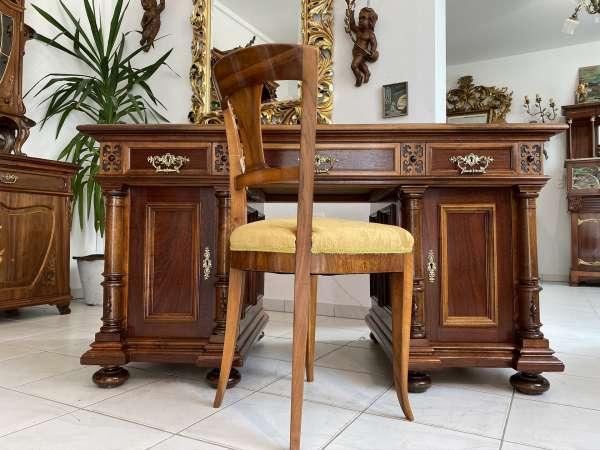 restaurierter Gründerzeit Schreibtisch Sekretär Schreibmöbel Nussholz E1761
