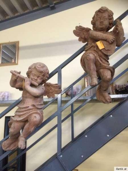 kindergroße Zirbenholz Engelsfiguren Engelspaar Holzfigur Nr. 8409