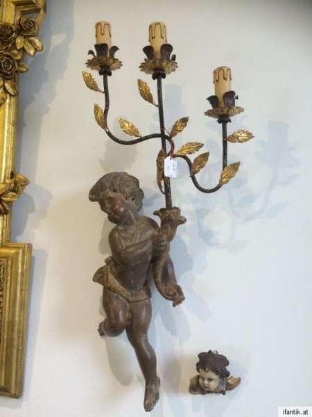 alte Engelsfigur Engel mit 3 armigen Leuchter Wandleuchte Nr. 8387