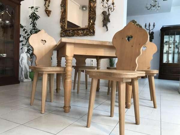 Naturholz Sitzgruppe Esszimmergruppe Jogltisch 6 Sessel W2049