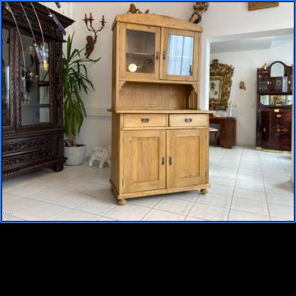 originaler Jugendstil Küchenschrank Vitrinenschrank Küchenkredenz A2625