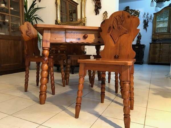 alter Bauerntisch Zirbenholz Tisch Sessel Bauernstube X2750