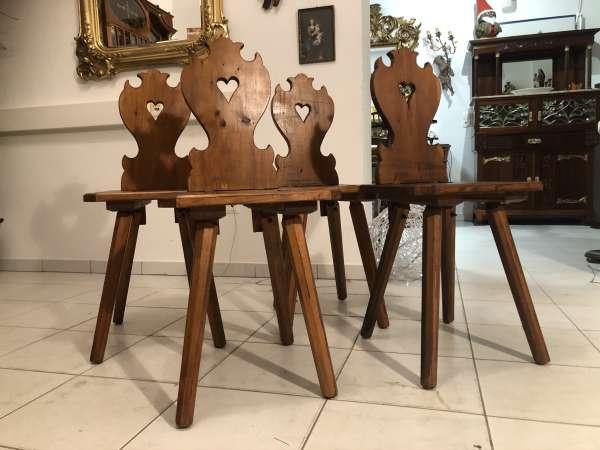 4 Bauernsessel Sessel Stuhl Herzerlsessel Naturholz Z2248