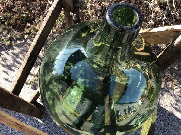 Alte Glasflasche Weinballon, Gärballon, Schnapsflasche X2443