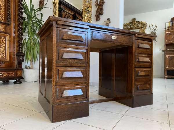 restaurierter Eichenschreibtisch Schreibtisch Büroschreibtisch Freisteher A2259