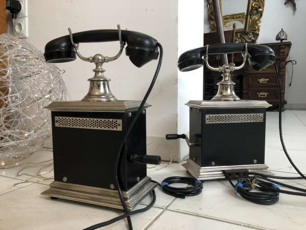Altes antikes Telefonset, 2 Stk., Tischtelefon, Heimtelefon, Kurbeltelefon, Z1533