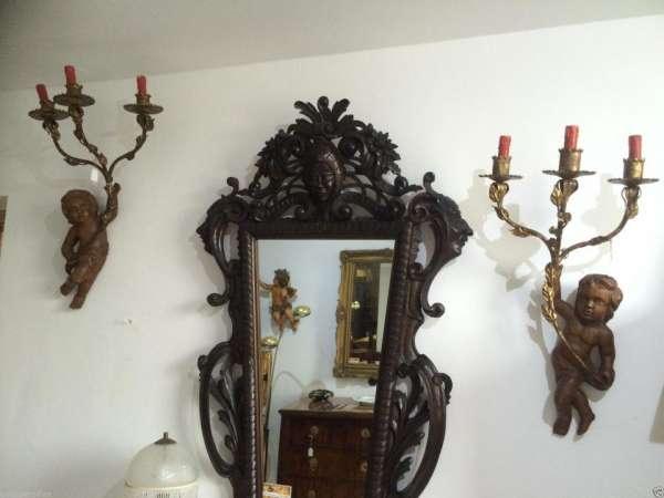 altes Leuchterpaar Engelsfiguren Engel Wandleuchter 8389