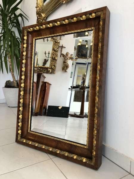 Biedermeier Spiegel Wandspiegel Original Nussholz Furniert Z1315
