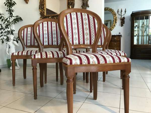 6er Ensemble hübscher Barockstil Sessel Stuhl Medaillonstühle W2201