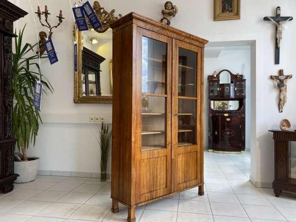 originale Biedermeier Vitrine Bücherschrank Glasschrank A2572
