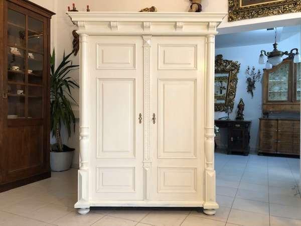 originaler Gründerzeit Garderobenschrank Säulenschrank Z1007
