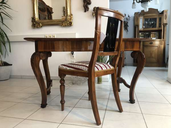 originaler Spätbiedermeier Tisch Sekretär Damenschreibtisch Nussholz Z1869