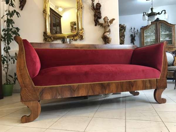 restauriertes originales Biedermeier Sofa Nussholz X2318
