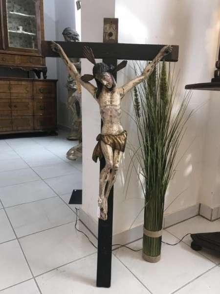 INRI Kruzifix Jesu Christi am Kreuz Wandkreuz Dreinageltypus aus Holz 18./19. Jh. W3543