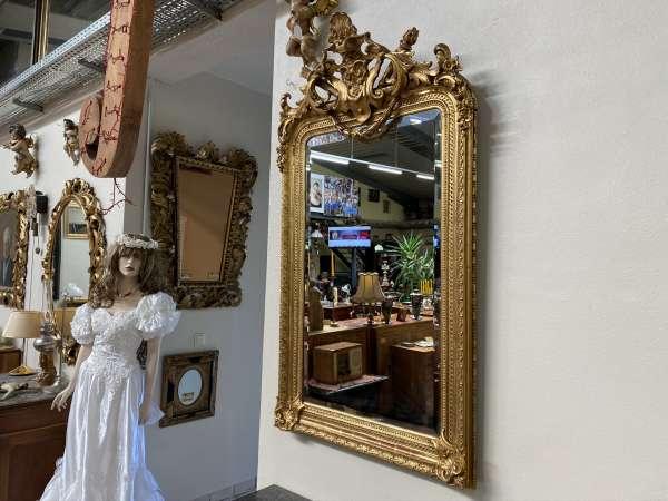 originaler Florentinerspiegel Ritterspiegel vergoldet Akanthusblattschnitzkunst E1986