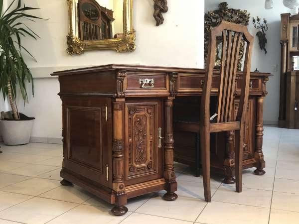 Gründerzeit Schreibtisch Sekretär Schreibmöbel Eichenholz Z1699