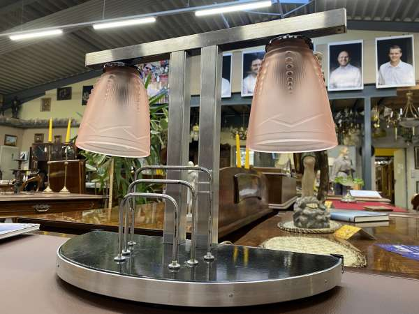 originale Art Deco Tischlampe Pane de Verre A2308