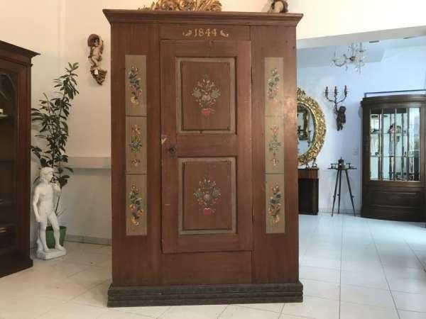 authentischer Kleiderschrank Bauernschrank Schrank Bauernkasten bemalt - W1794
