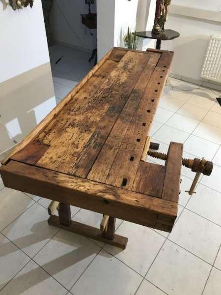 antike Hobelbank, Werkbank, Schreibtisch, Küchentisch Designertisch X1080