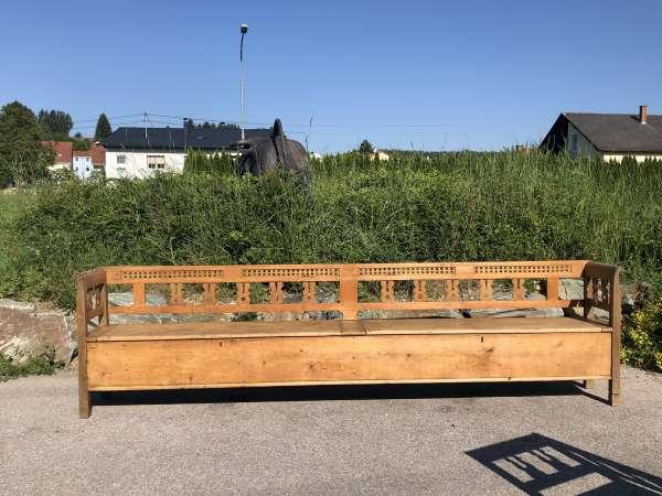 urige alte originale Truhenbank Küchenbank Bauernmöbel 353cm Heu1002