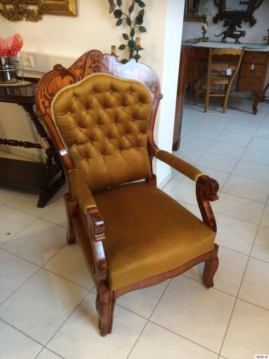 Originaler biedermeier fauteuil brokatkstoff armlehnstuhl intarsiert nr 8499 antike sitzm bel - Armlehnstuhl biedermeier ...