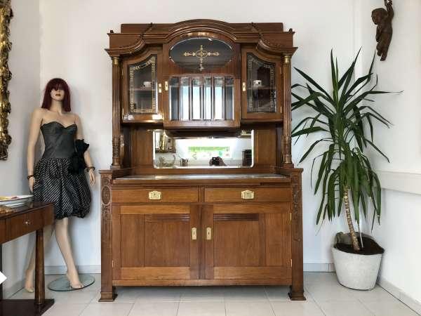 restaurierte Jugendstil Säulenanrichte Aufsatzbuffet Vitrine Z1625