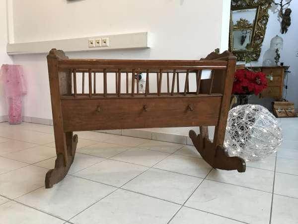 antike originale Kinderwiege Kinderbett Bett lasiert Traum - A1633