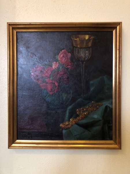 altes Blumenstilleben Ölbild Gold Alfred Pickhert 1942 X2732