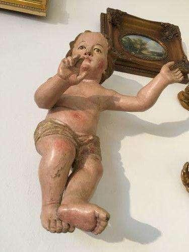 Original Barockengel 300 Jahre Holzengel Kreide Traumobjekt 45cm - W1205