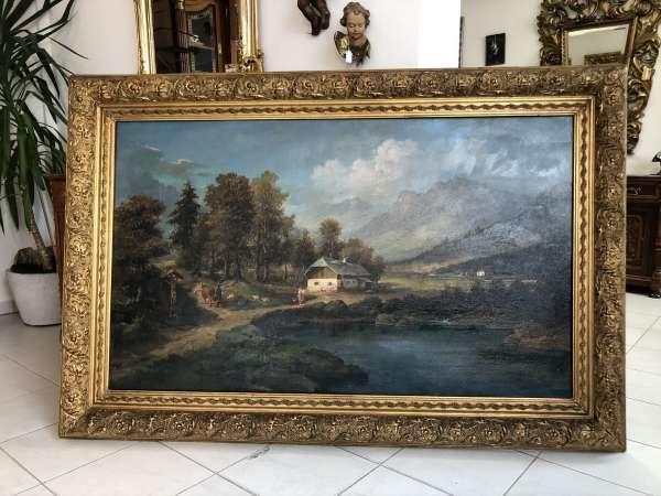 großes Landschaftsbild Künstler Pauli Öl auf Leinwand Mitte 19 Jhdt. Z2027