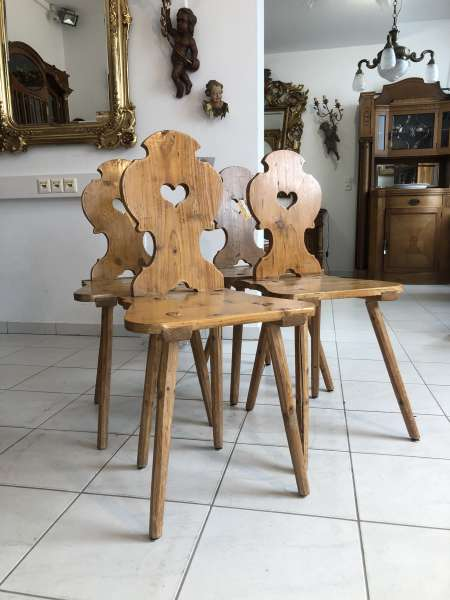 4 Bauernsessel Sessel Stuhl Ensemble Naturholz Z1929