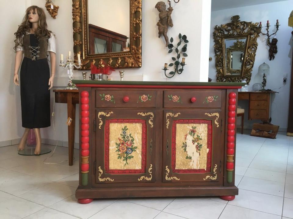 Bäuerliche Kommode Anrichte Sideboard Bauernmöbel Bemalt A1719 Ebay